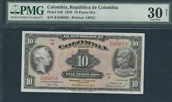 Colombia Banknotes 10 1938 Pmg30