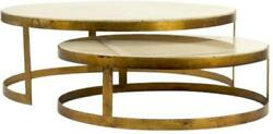 Fae Coffee Table Cocktail Antique Brass Cream Marble Top Steel Base