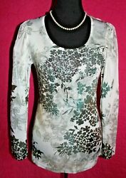 Ocean Blue Green Brown Floral Silky Stretch Top Crochet At Back Beads Athletic L