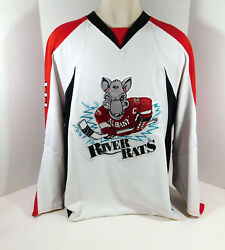 2009-10 Albany River Rats Benn Olson 3 Game Used White Jersey Nameplate Rem 4