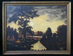 Geo Decosta Antique Western Oil Painting Indian Camp Tipis Canoe Campfire River