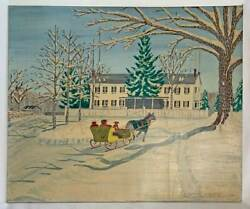 Wj Leabrock Snow Folk Art Naive Painting Vintage Colonial House Horse Sled Dog