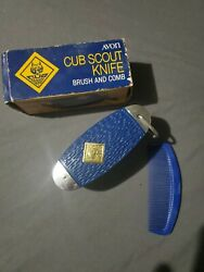Vintage Avon Cub Scout Pocket Knife Brush And Comb Set Unused With Box