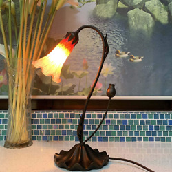 Table Desk Lamp Lily Flower Blown Glass Home Décor Art Bedroom Office Reading