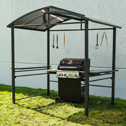 Aluminum Grill Bbq Gazebo Hardtop Barrel Roof Curved Top Canopy Tend 8and039 X 5and039 Ft