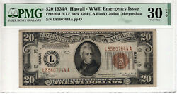 1934 A 20 Federal Reserve Hawaii Note Fr.2305 Late Finish Back 204 Pmg 30 Epq