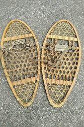 Snowshoes Faber Wooden Vintage Canada 30x14 Snow Shoes Wood Leather Rawhide