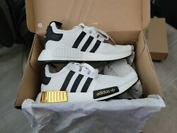 Adidas Nmd_r1 Eg5662 White/black/gold Sneakers New With Tags And Box Men's 7