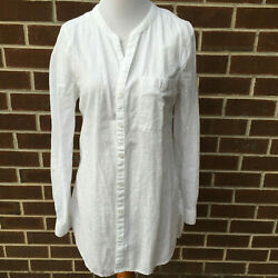 OLD NAVY WHITE COTTON TUNIC SHIRT SIZE SMALL WOMEN TOP C $19.99