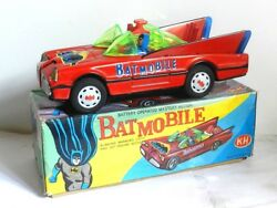 Vintage Tin Toy Batmobile Batman And Robin Battery Operated Red Nib 1970 Works Kh
