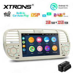 Obd+ 7 Android 10 Car Gps Stereo Radio Car Auto Play For Fiat 500 2007-15 Beige