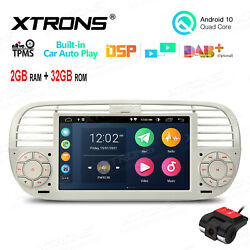 Dvr+ 7 Android 10 Car Gps Stereo Radio Car Auto Play For Fiat 500 2007-15 Beige