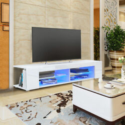 Tv Cabinet High‑gloss Front Tv Stand Table With Blue Led Light For Living Room