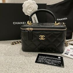 BNIB CHANEL Top Handle Vanity with Chain Black Quilted Leather Gold Hardware $2750.00