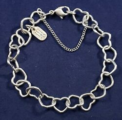James Avery Connected Hearts Charm Bracelet Sterling Silver Used W/ Safety Chain