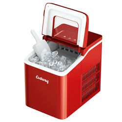 Costway Compact Ice Cube Maker 26lbs/24h Self-cleaning W/ Scoop Red