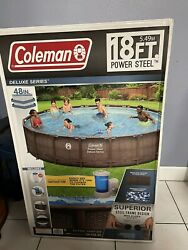 🌋 Coleman Power Steel Frame 18ft X 48in Round Above Ground Pool Set 18and039x48 🌊
