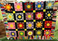 Vintage Handmade Bed Quilt Twin Size 76 X 91 Lone Star Cotton Poly Fabrics 60s