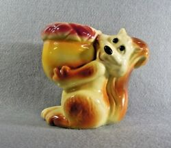 Squirrel Planter Vintage Holding Acorn With Flowers Collectible