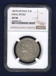 Italy Papal States Pope Pius Ix 1867 2 1/2 Lire Silver Coin Ngc Certified Au58