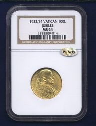 Vatican City 1933-34 100 Lire Gold Coin Choice Uncirculated Certified Ngc Ms-64