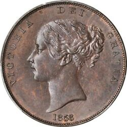 Great Britain Victoria 1858/7 1 Penny Coin Uncirculated Certified Pcgs Ms63-bn