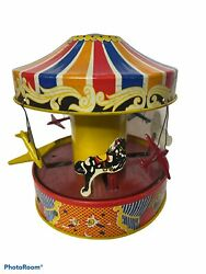 Merry-go-round Carousel Wolverine Vintage Tin Toy Mechanical Musical Works Well