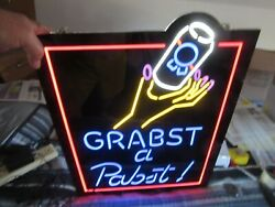 New Pabst Blue Ribbon Beer Sign Led Light Up Womens Hand Grab A Can Pbr Bar Pub