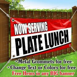 Now Serving Plate Lunch Advertising Vinyl Banner Sign Flag Any Size Thick
