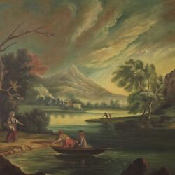 Painting Antique Style Landscape Characters River Framework Oil On Canvas Frame