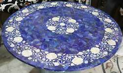 30and039and039 Antique Marble Table Top Round Coffee Inlay Blue Lapis Room Home Decor