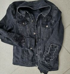 New Jacket Black With Flowers Design Jeans Material Menand039s