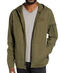 John Varvatos Star Usa Menand039s Long Sleeve Army Ripstop Patch Hooded Jacket Olive