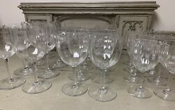 Baccarat Montaigne Optic Claret Tall Water And Wine Glasses Lot Of 24