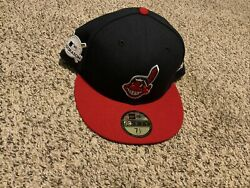 New Era Mlb Cleveland Indians Post Season 2017 Fitted Hat 59fifty Size 7 1/2