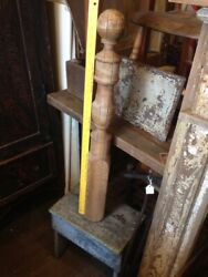 Antique Early Turned Wood Rope Bed Part Post Column Newel Architectural Salvage