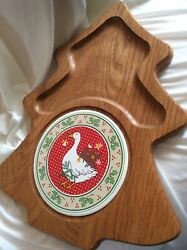 Vermillion Solid Wood Cheese Crackers Christmas Goose Party Tray Vtg Usa Made