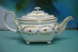 Circa 1810 Antique Rcd Bloor Royal Crown Derby Hm Hand Painted Teapot On Feet
