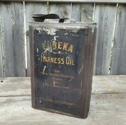 Vintage 1920s Eureka Harness Oil 5 Gallon Oil Can Standard Oil Of Indiana Square