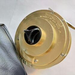 Fin-nor Wedding Cake Vintage Gold No. 3 Fishing Reel With Case Japan
