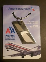 American Airlines Md80 Genuine Skin Tail N466aa 1988-2016 Commemorative Keychain