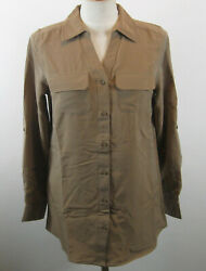 Denim And Co. Button Front Utility Tunic Top Xxs Mocha New A227885