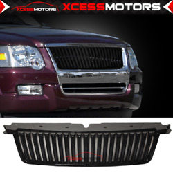 Fits 06-10 Ford Explorer Vertical Style Black Front Bumper Hood Grille Abs