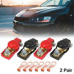 2 Pair Car Cable Battery Terminal Clamps Connectors With Lugs