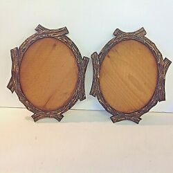 Antique Black Forest Style Carved Wood Curved Branch Oval Picture Frame Pair