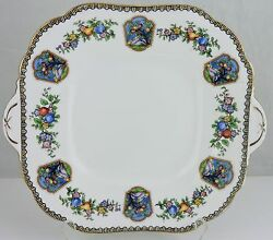 Antique Aynsley Edena Square Handled Plate Gold Rims Fruit And Flower Tree