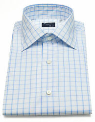 Finamore 1925 Shirt In Light Blue Checked With Kent Collar / Regeur350