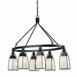 6 Bulb Oval Metal Frame Chandelier With Glass Shades Black And White