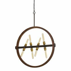 Round Wood Frame Chandelier With Metal Rod And Glass Shade,bronze And Brown