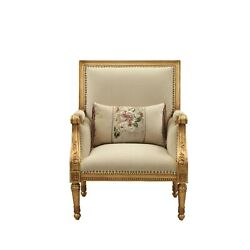 33 X 32 X 41 Fabric Antique Gold Upholstery Wood Leg/trim Accent Chair And P...